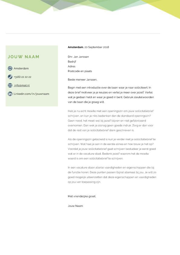 presentatie creative sollicitatiebief groen