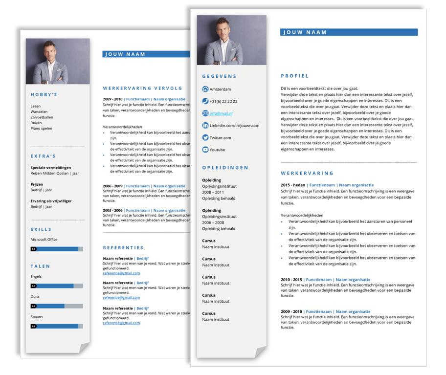 presentatie cv template blauw