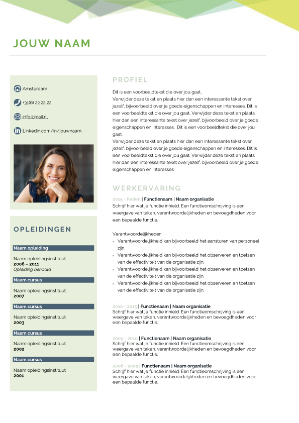Presentatie template creative groen blad 1