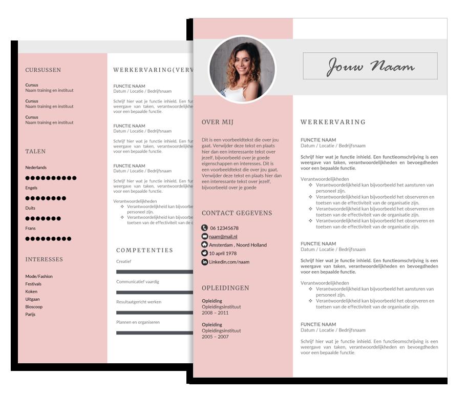creatieve cv sjabloon CV template Fashionista   een creatief cv sjabloon CVhelpdesk.nl