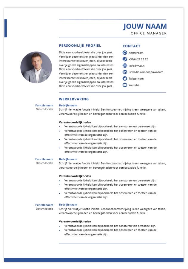 presentatie cv template career blauw blad 1