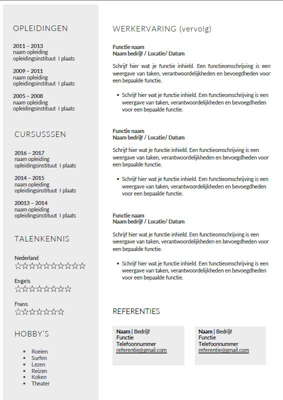 Presentatie cv template sublime pagina 2