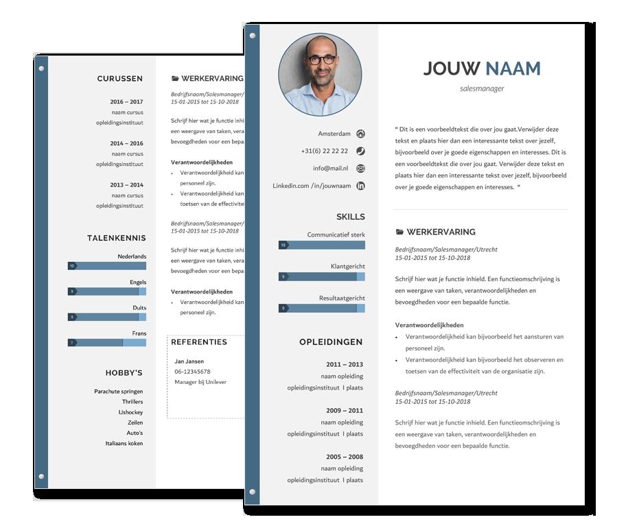 presentatie template focus blauw